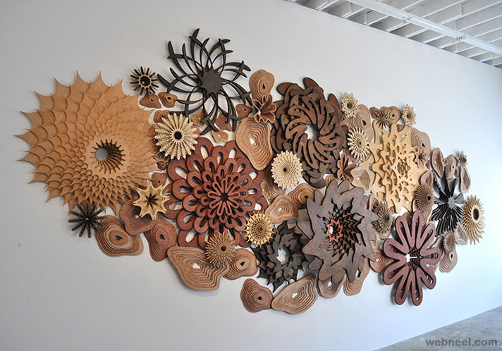 modern wall wood sculpture