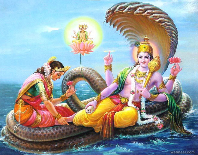 god vishnu with lakshmi