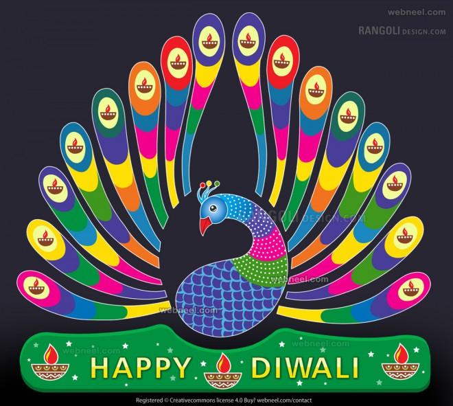 peacock diya rangoli design by webneel