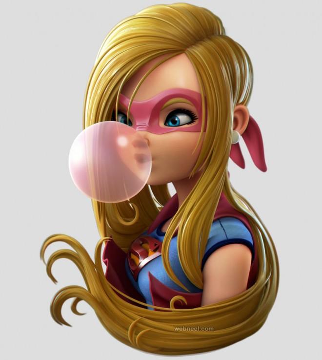 3d super girl model by sealtiel