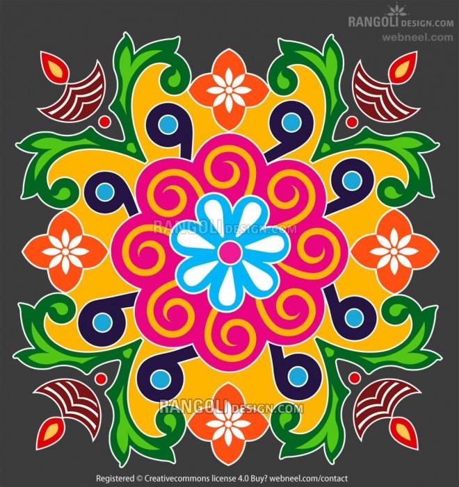 diya rangoli design for diwali by webneel