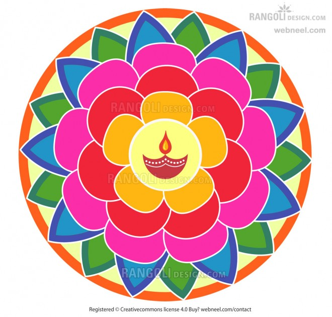 diya rangoli design for diwali