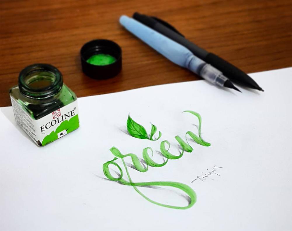 10-green-3d-calligraphy-by-tolga-girgin