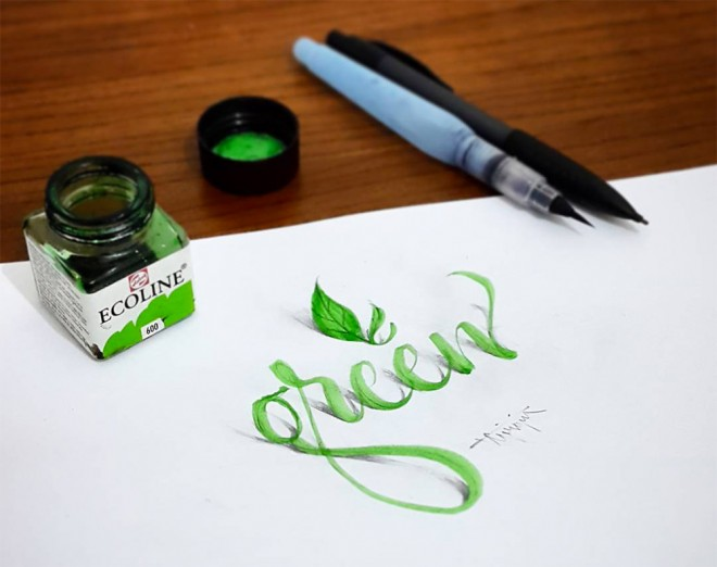 green 3d calligraphy by tolga girgin