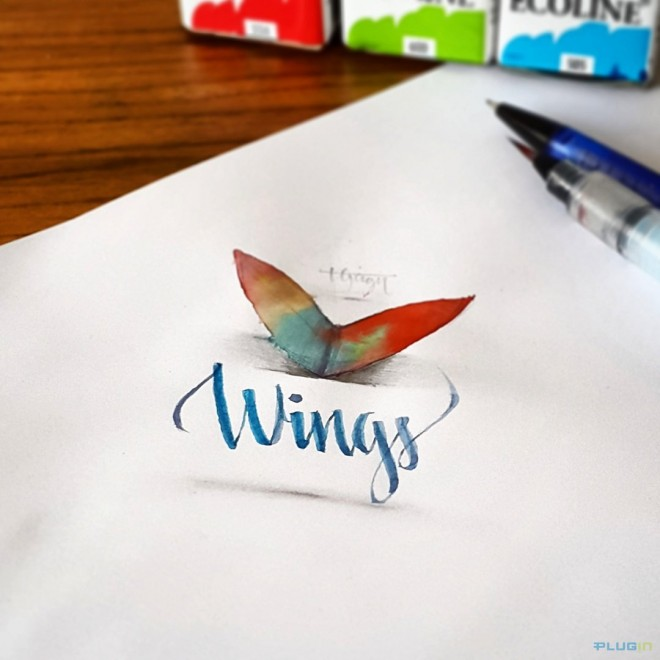 wings 3d calligraphy by tolga girgin