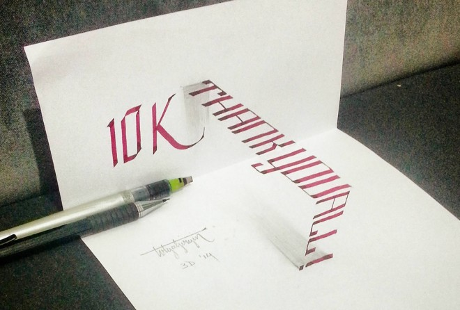 thankyou 3d calligraphy by tolga girgin