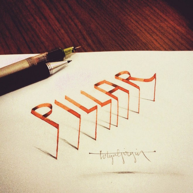 pillar 3d calligraphy by tolga girgin