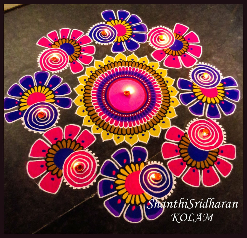 wall art ideas with pictures - rangoli design by shanthisridharan 13