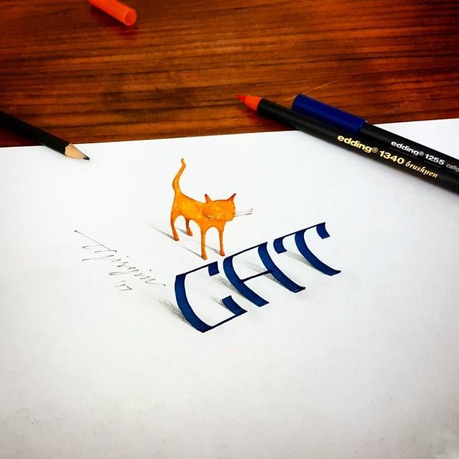 cat 3d calligraphy by tolga girgin