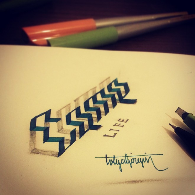 life 3d calligraphy by tolga girgin