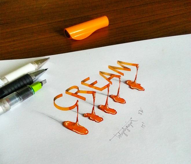 cream 3d calligraphy by tolga girgin