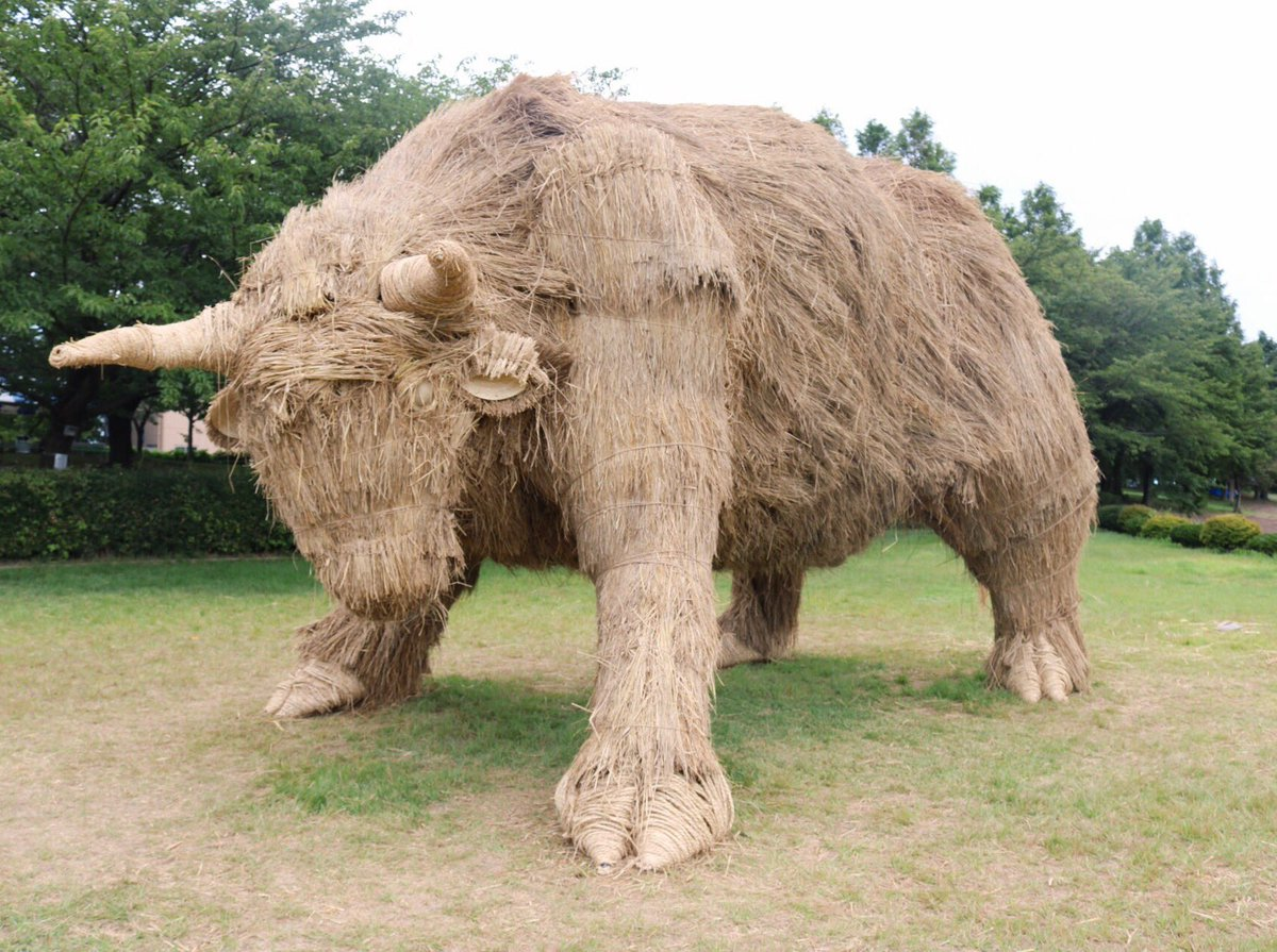 bull rice straw sculpture
