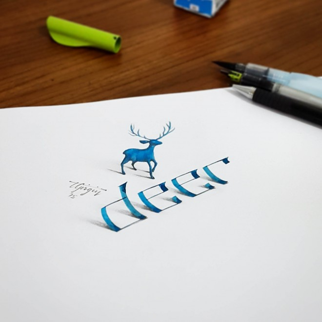 deer 3d calligraphy by tolga girgin