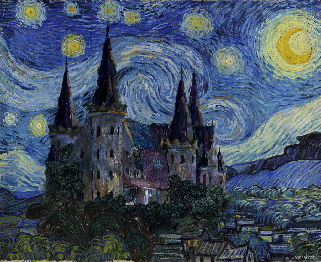 famous oil painting starry night by vincent van gogh