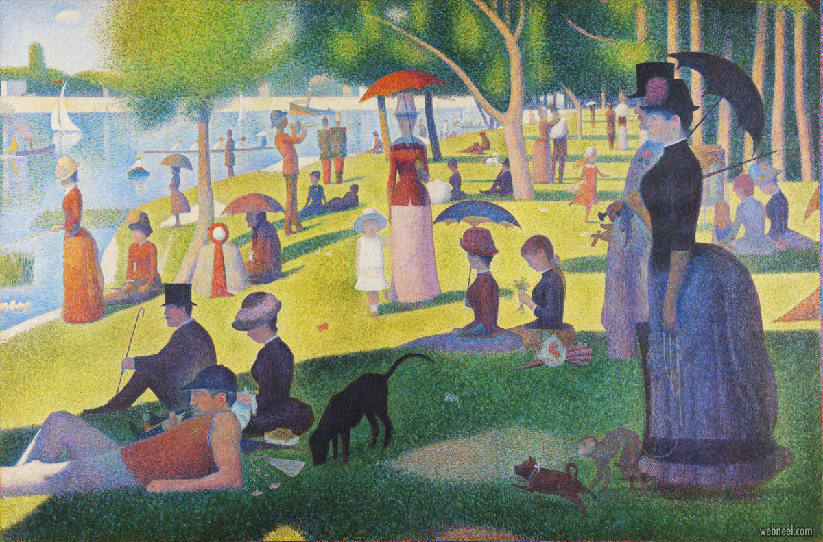famous oil paintings sunday afternoon island by georges pierre seurat