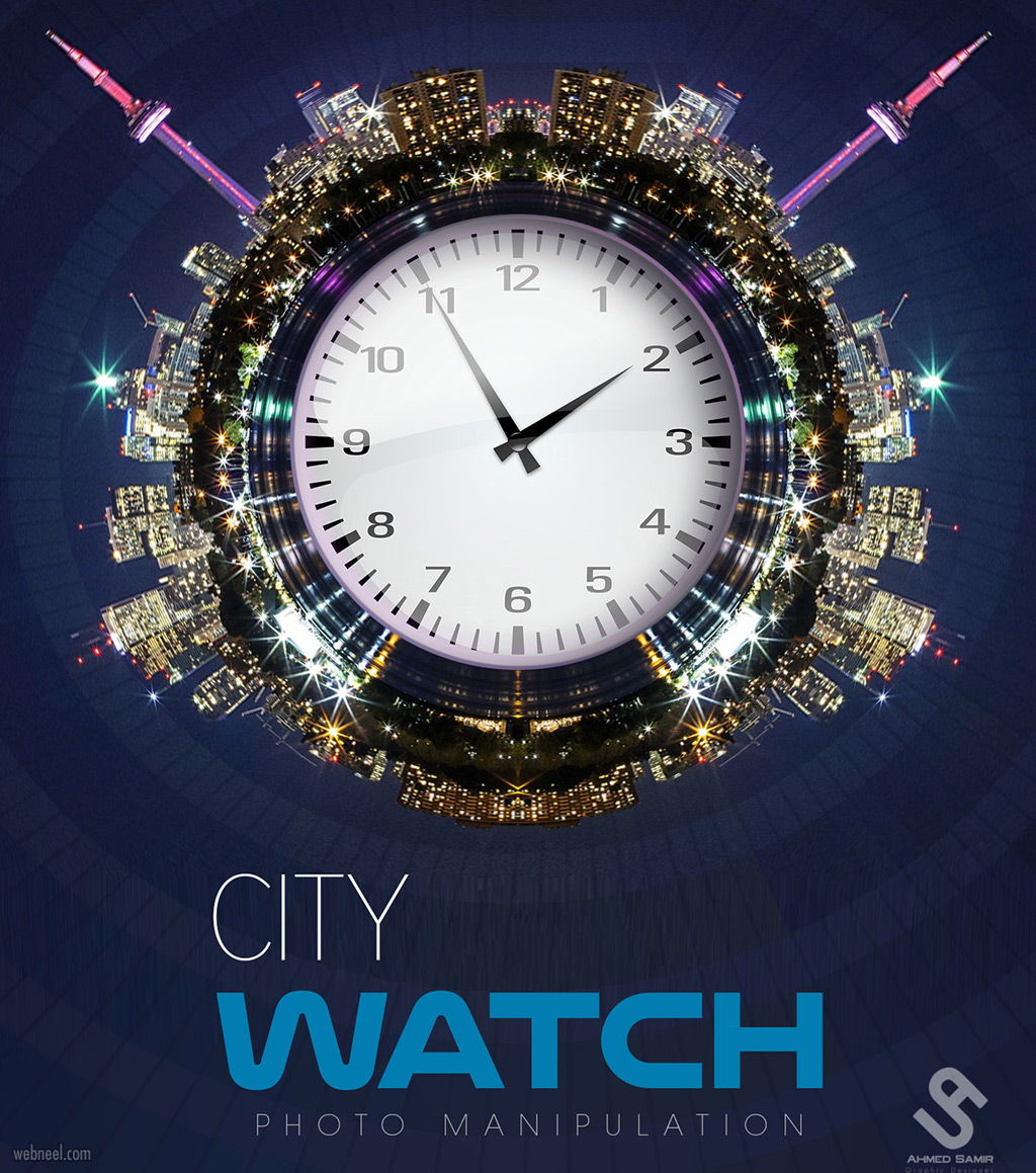 photo manipulation city clock by ahmed samir