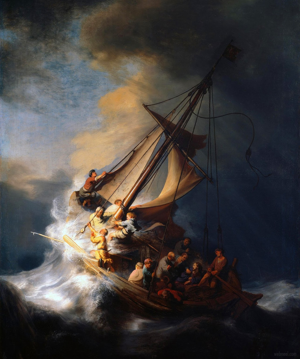 famous oil painting the storm on the sea of galilee