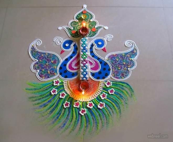 diwali rangoli design peacock