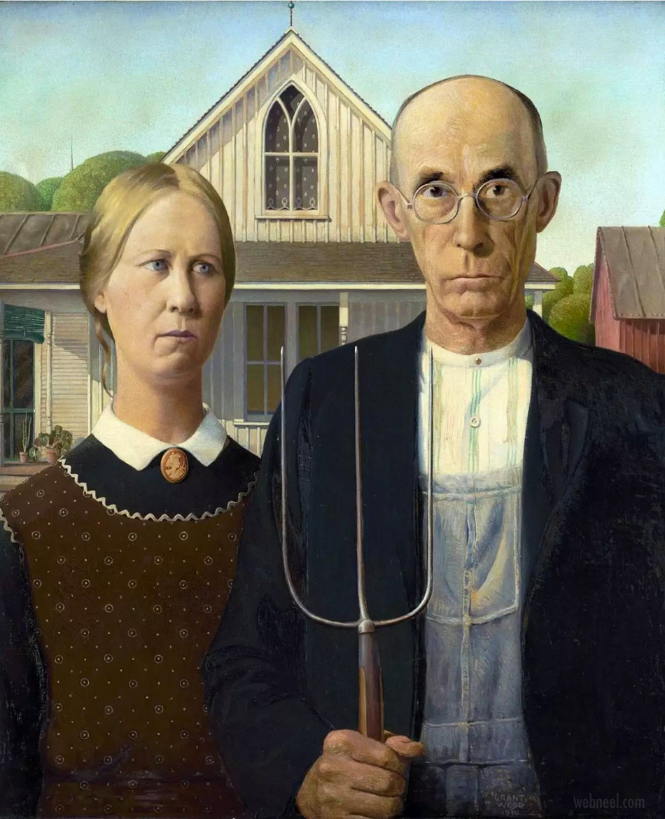 famous oil painting american gothic by grant wood