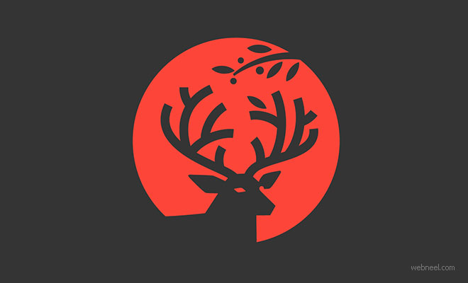 logo design deer animal by rodendesign