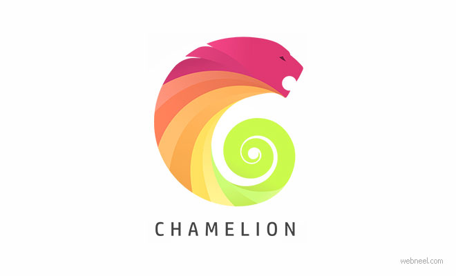 logo design chameleon lion animal