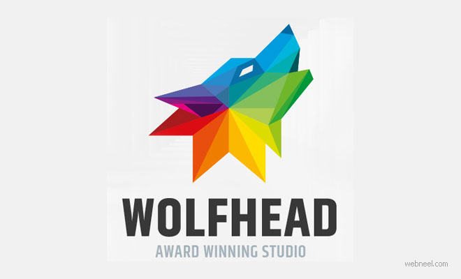 logo design wolf animal colorful