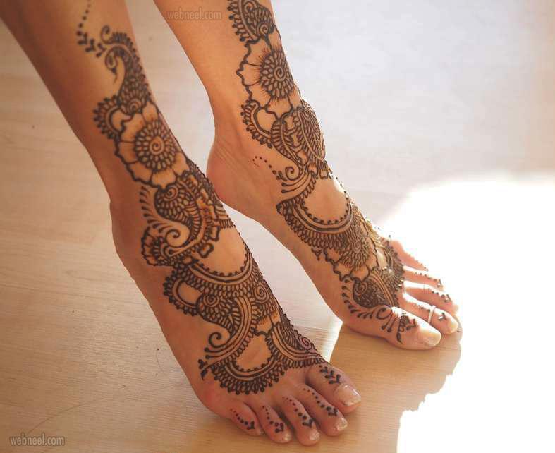 foot leg mehndi design by darcy vasudev
