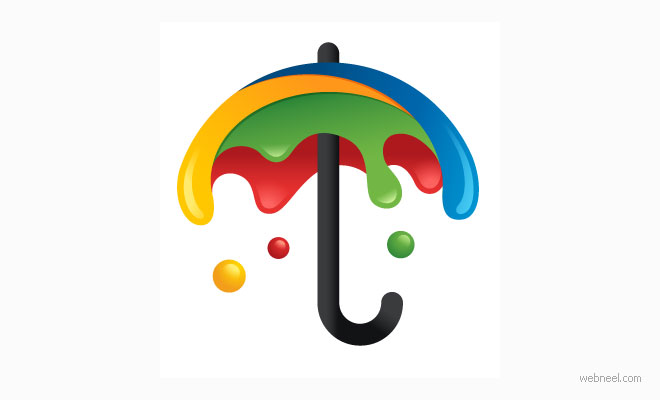 logo design rain umbrella paint by alfreydavilla