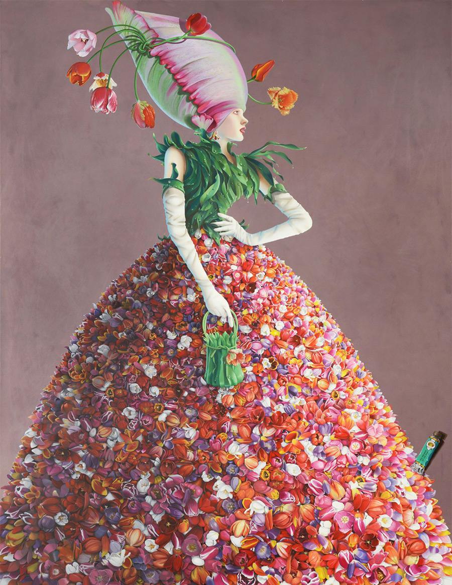 surreal painting artwork tulip