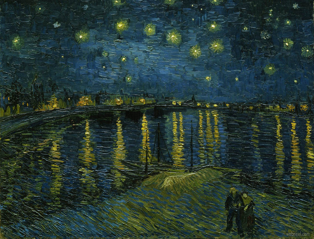 famous oil painting starry night rhone by vincent van gogh