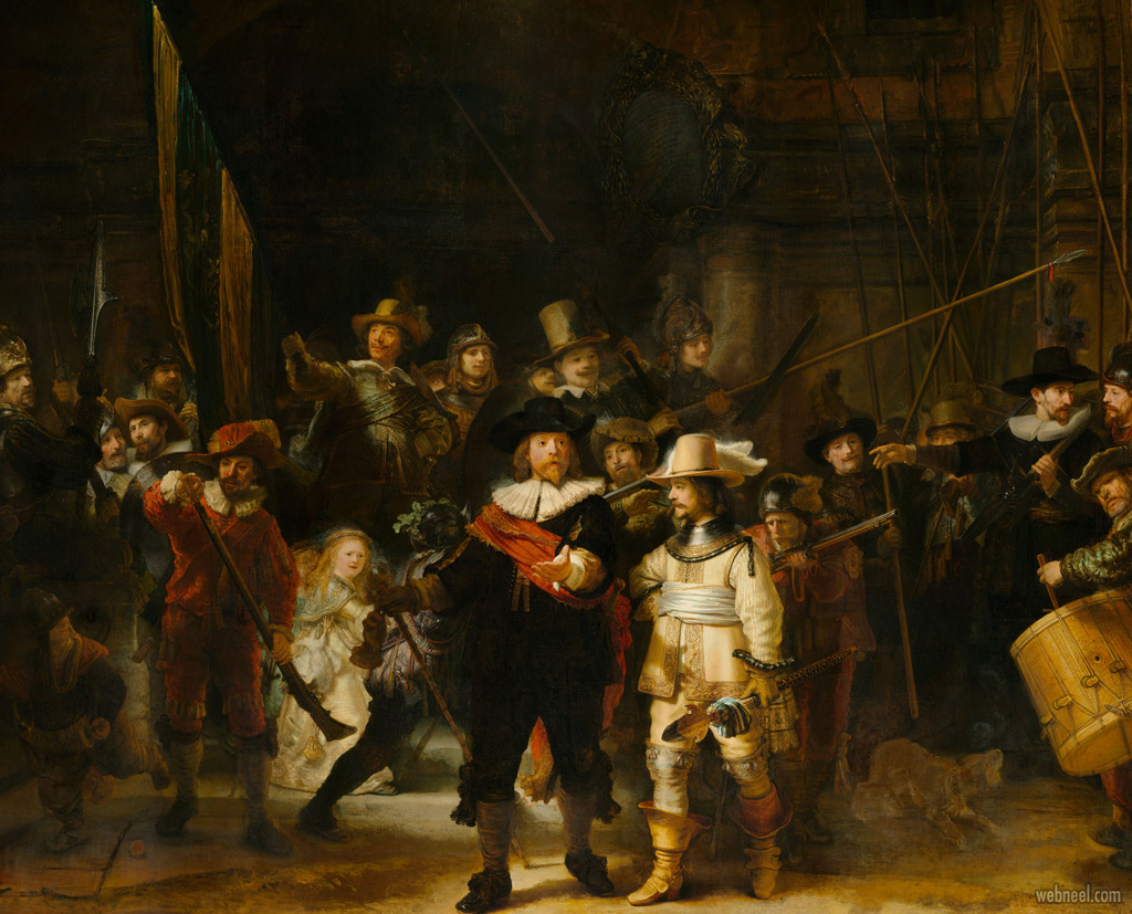 famous oil painting night watch by rembrandt