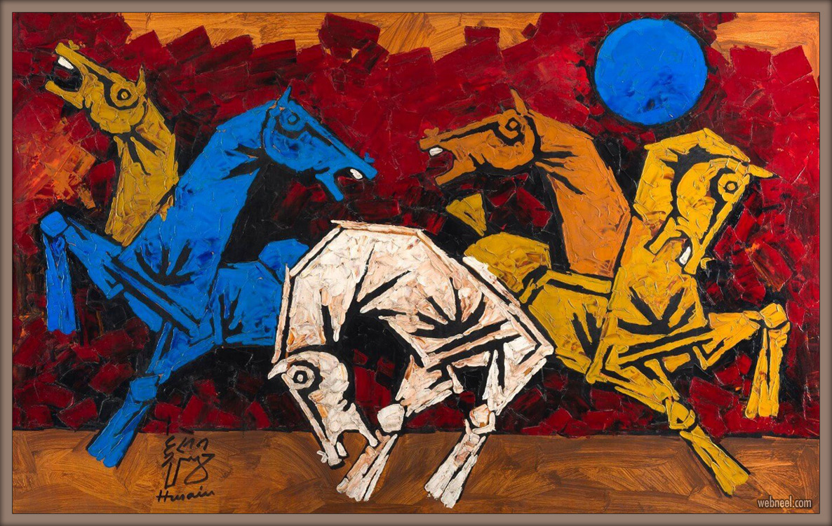 indian modern paintings five horses