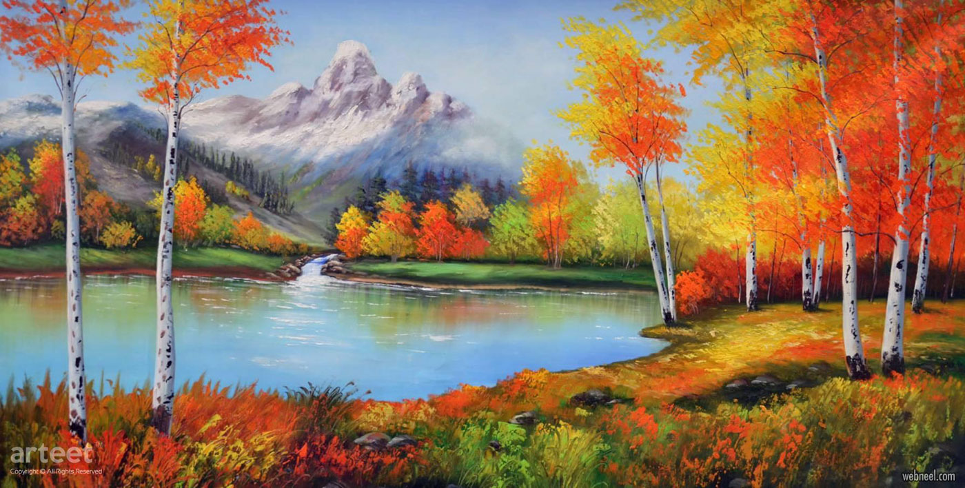 landscape oil painting autumn by arteet
