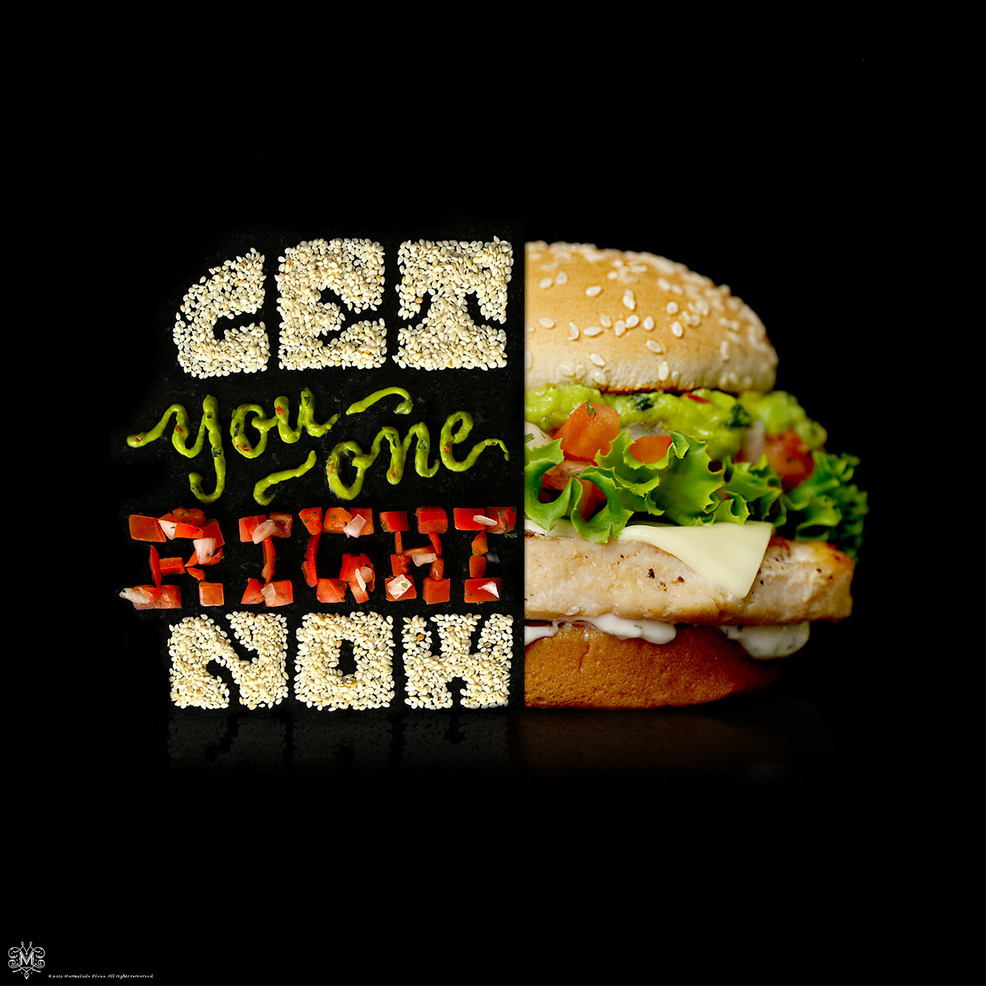 advertising typography design burger by danielle evans