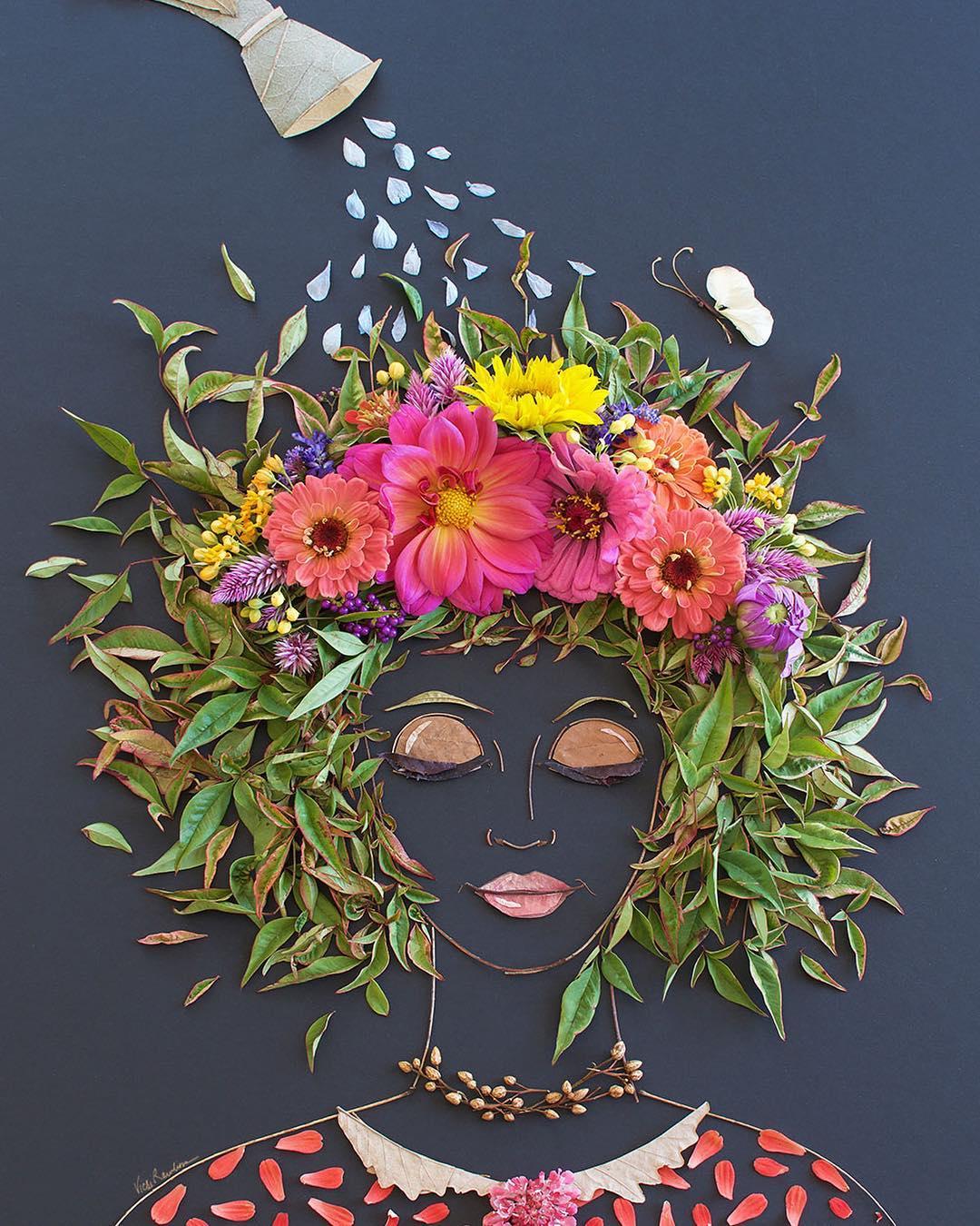 shower flower art portrait