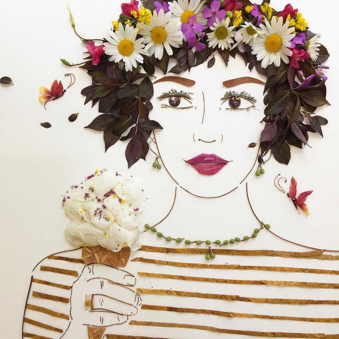 icecream flower art portrait by vicky brooke