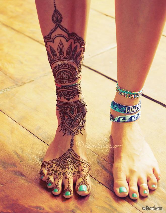 leg foot mehndi design by darcy vasudev