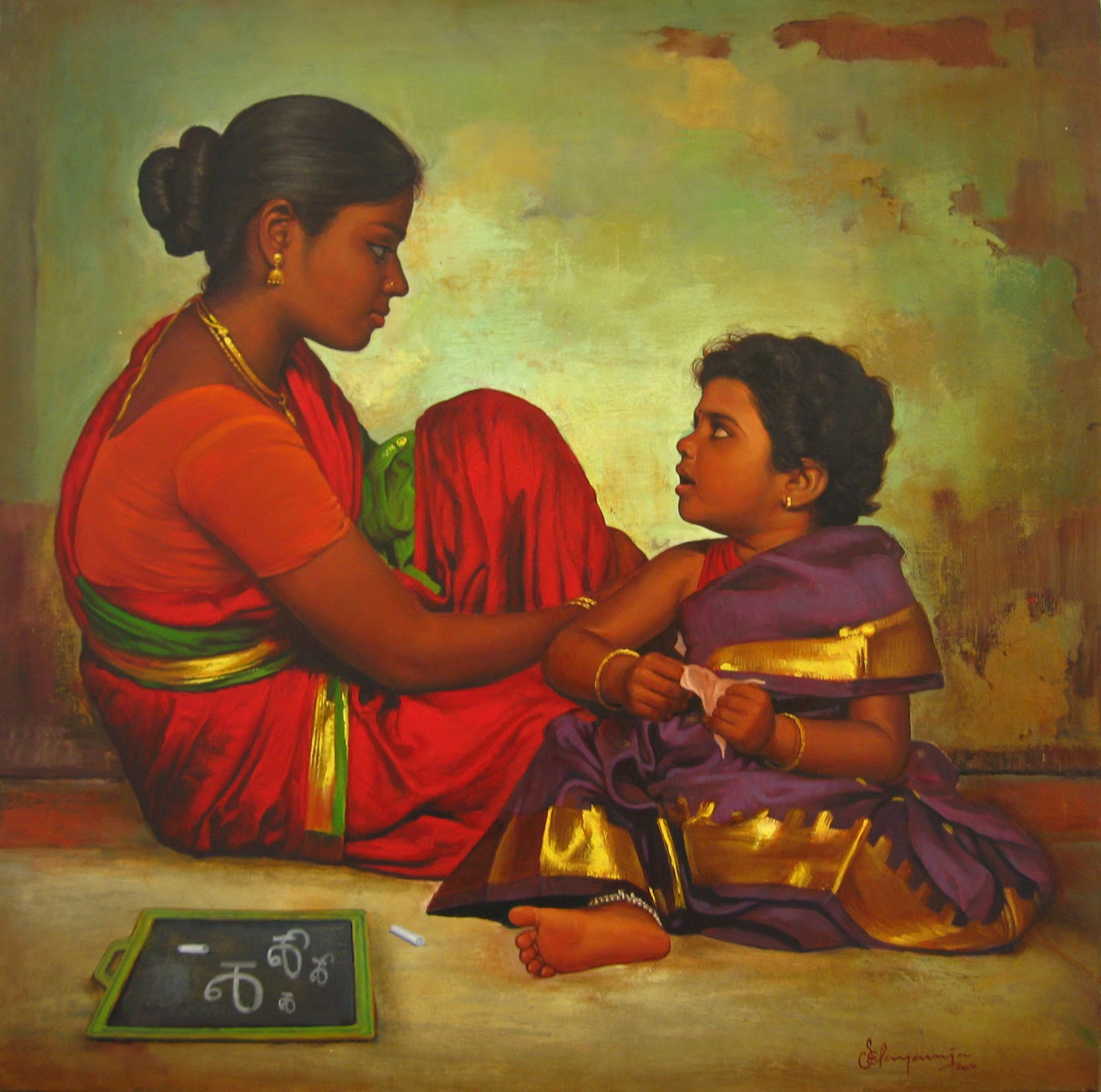 acrylic painting artwork mother child tamilnadu