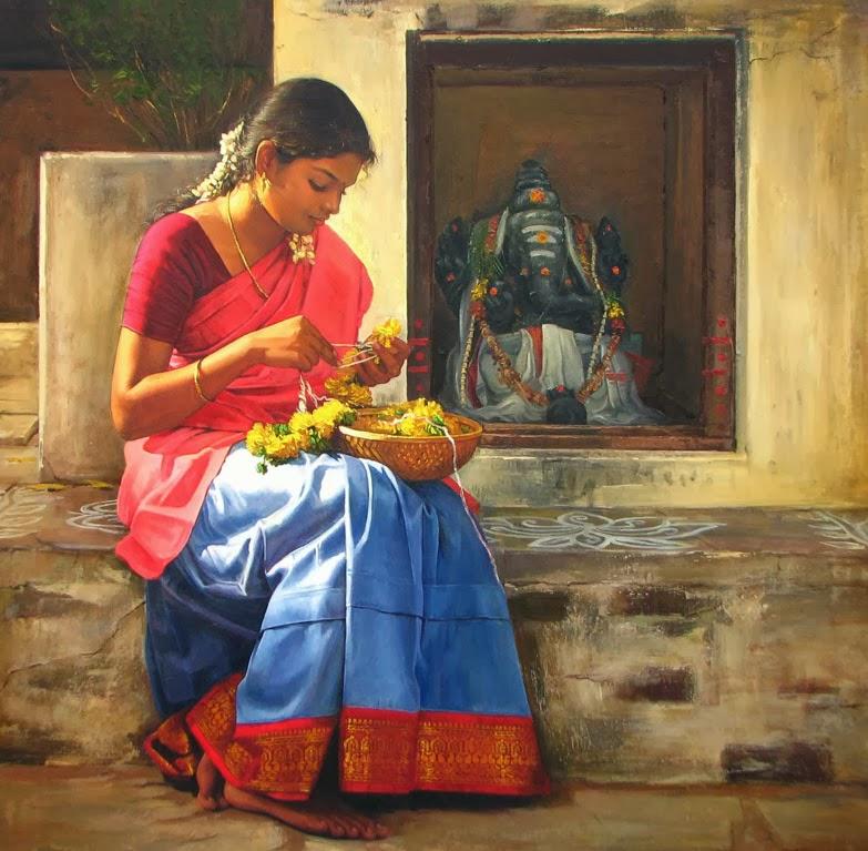 acrylic painting artwork temple tamilnadu by illayaraja