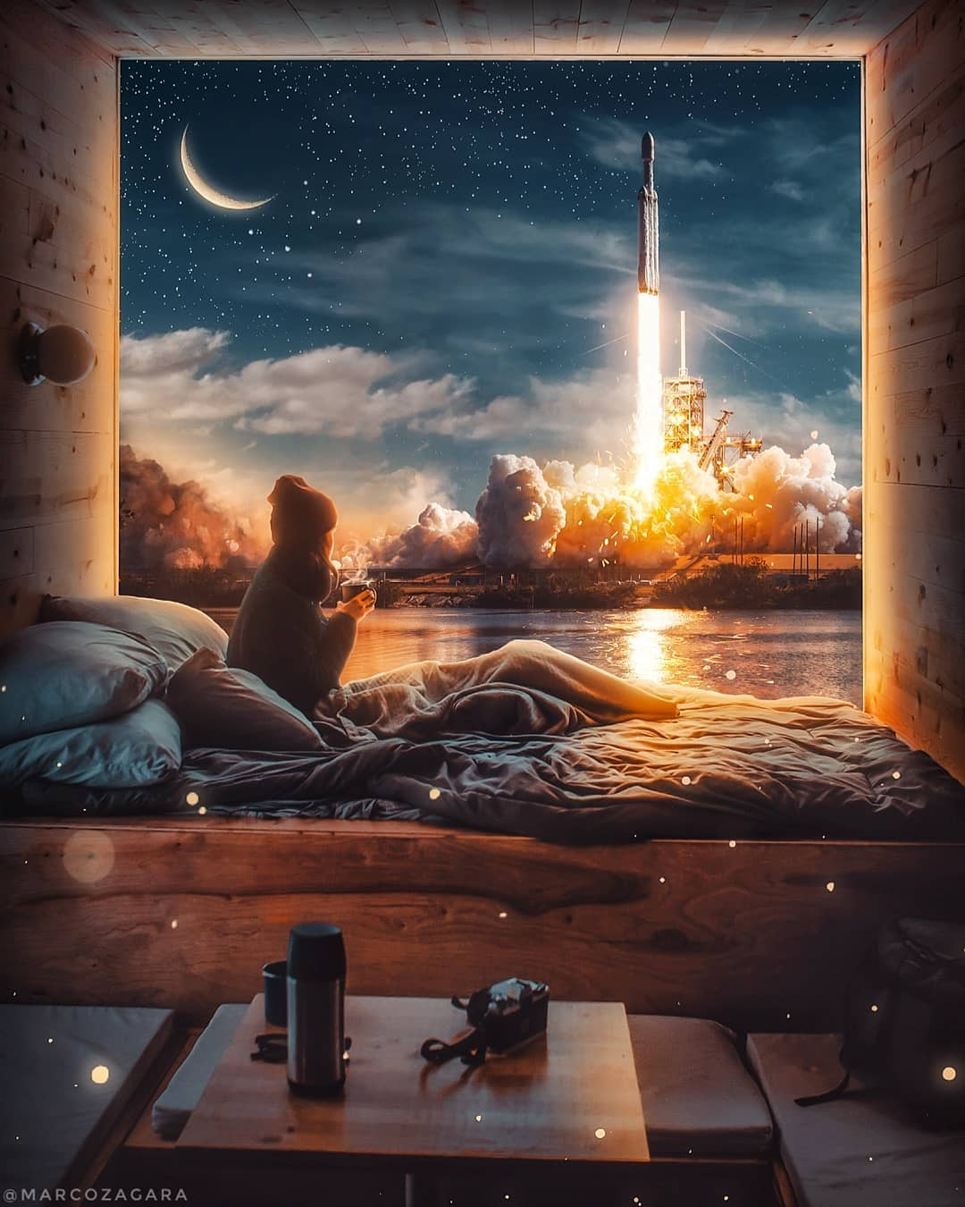 photo manipulation rocket by marco zagara