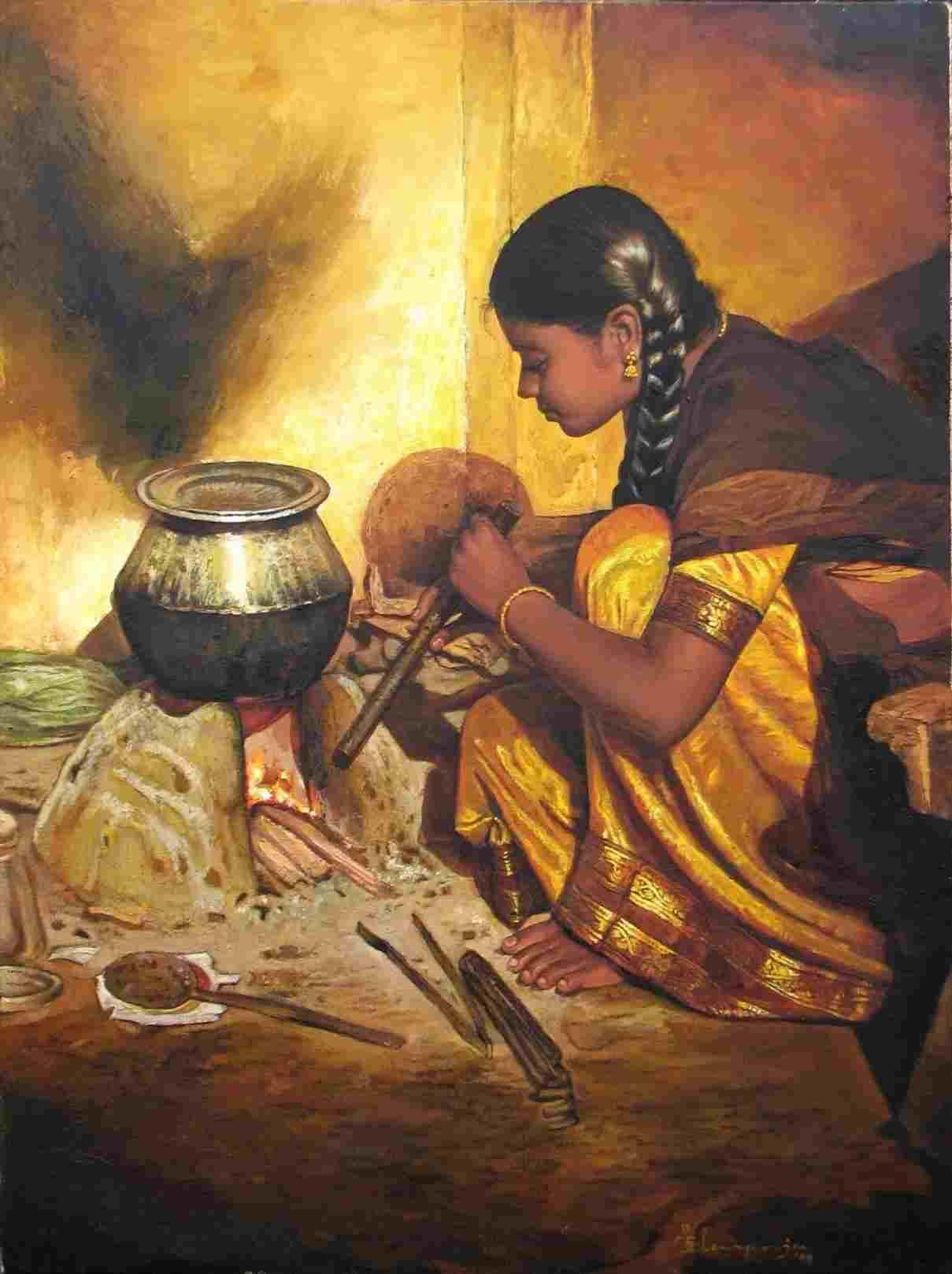 acrylic painting artwork girl cooking tamilnadu by illayaraja