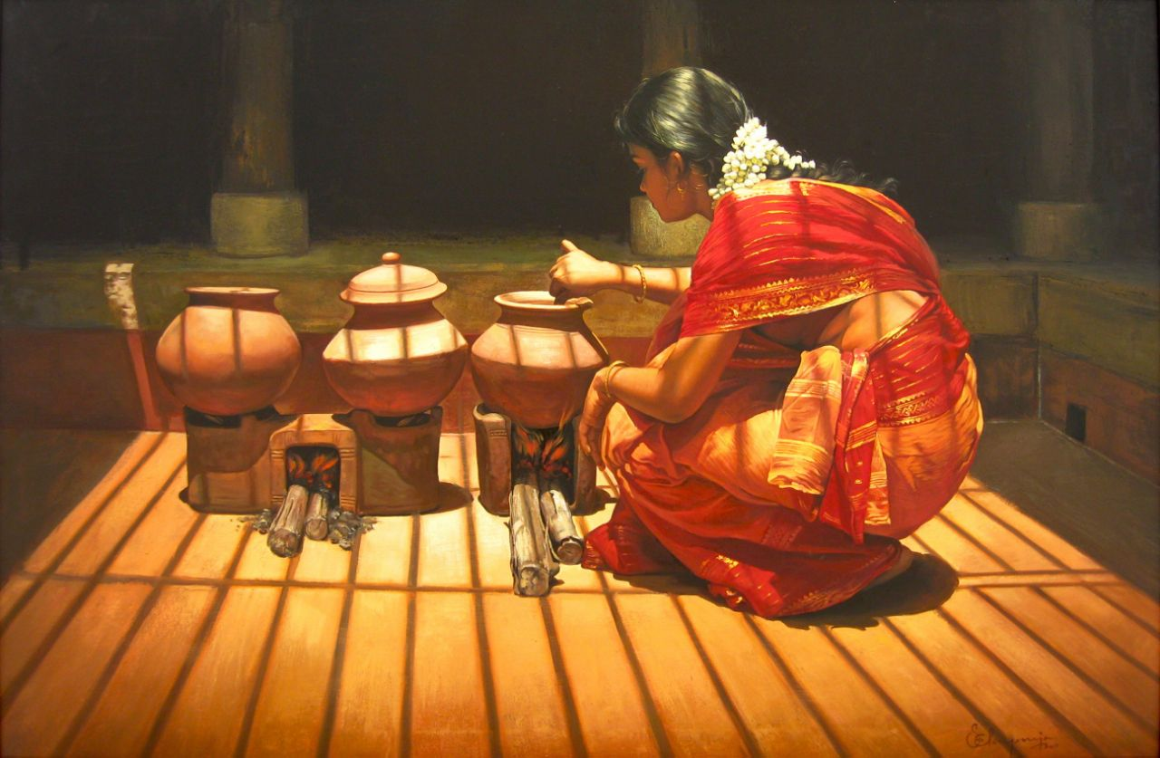 4acrylic painting artwork woman cooking tamilnadu by illayaraja