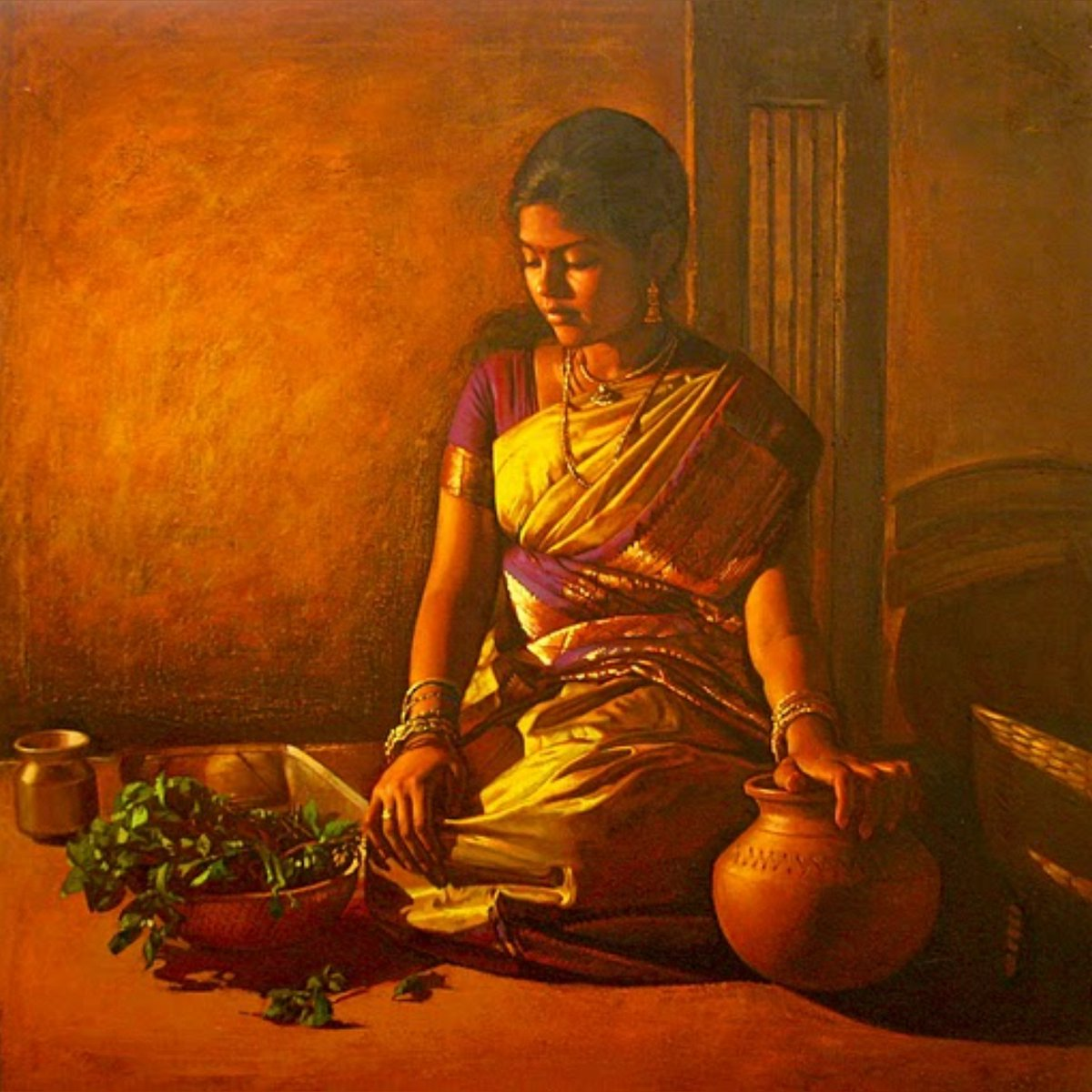 acrylic painting artwork woman cleaning greens tamilnadu