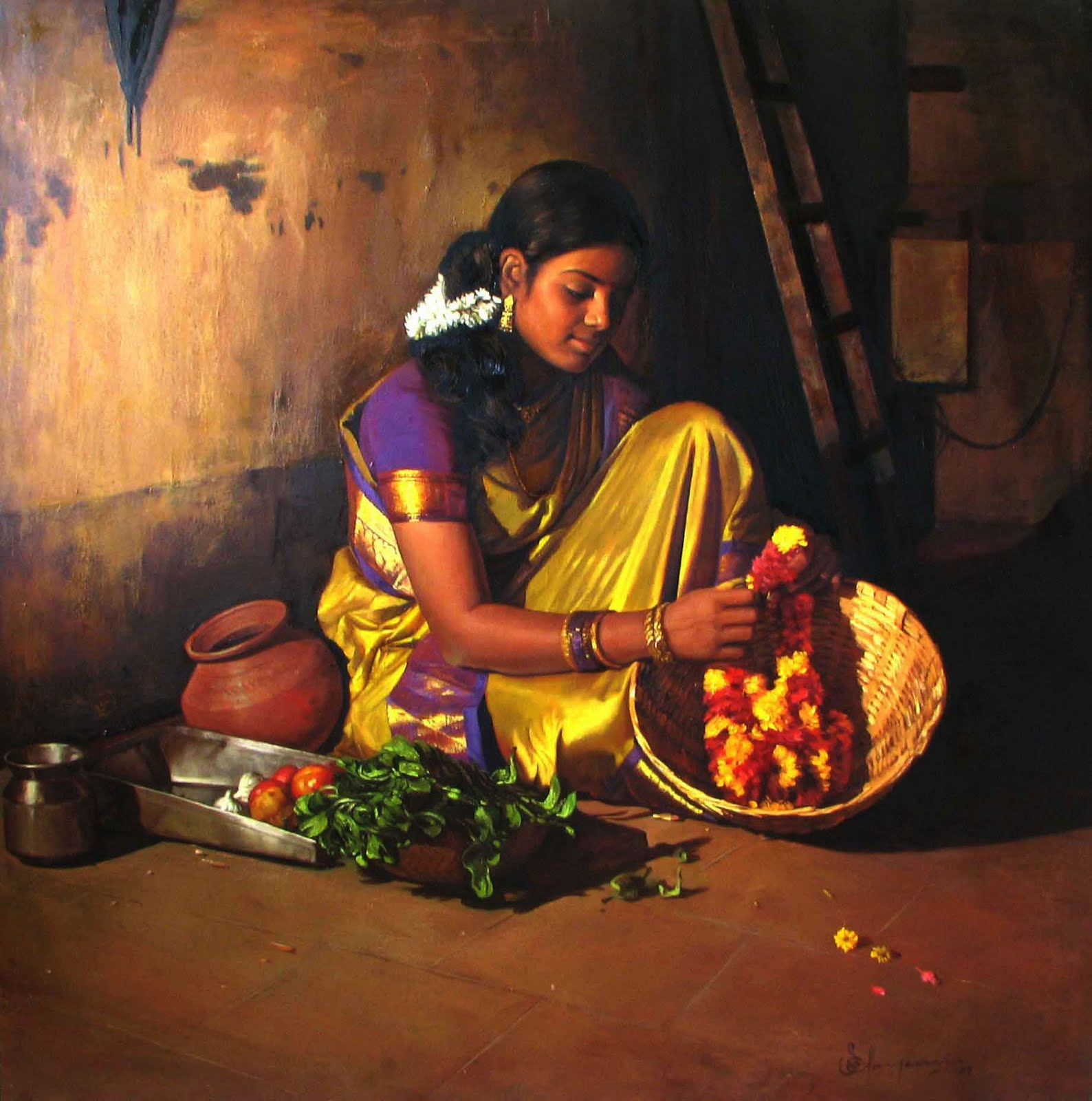 acrylic painting artwork woman garland tamilnadu by illayaraja