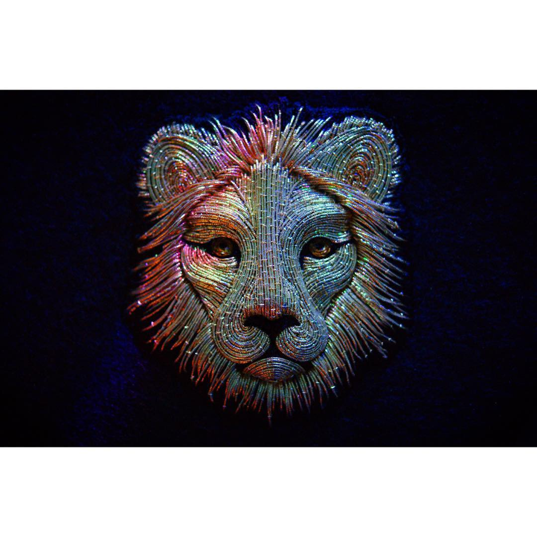 hand embroidery lion