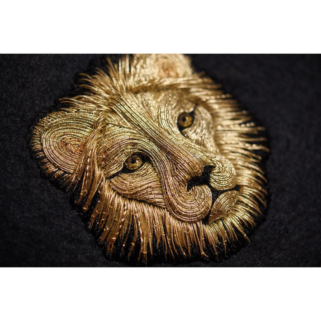 hand embroidery lion by laura baverstock
