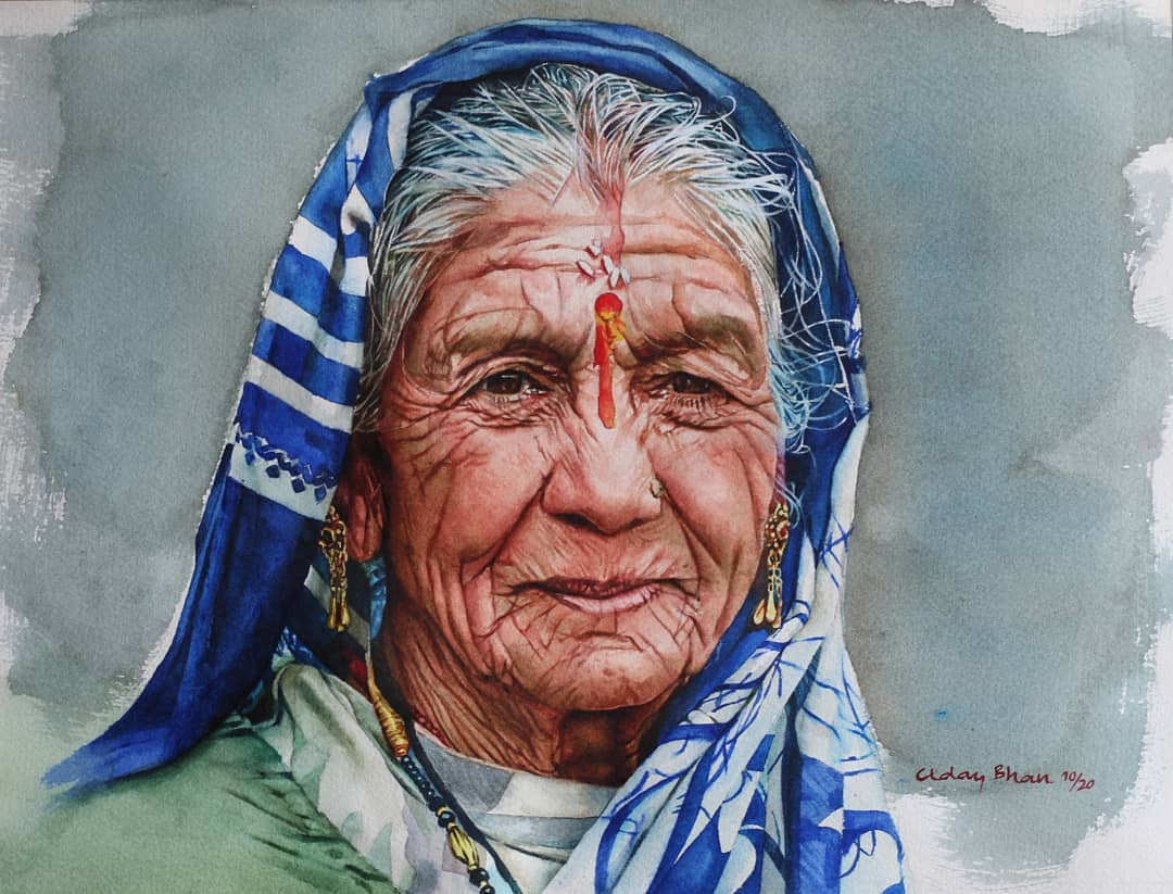 portrait watercolor painting blue saree woman by uday bhan