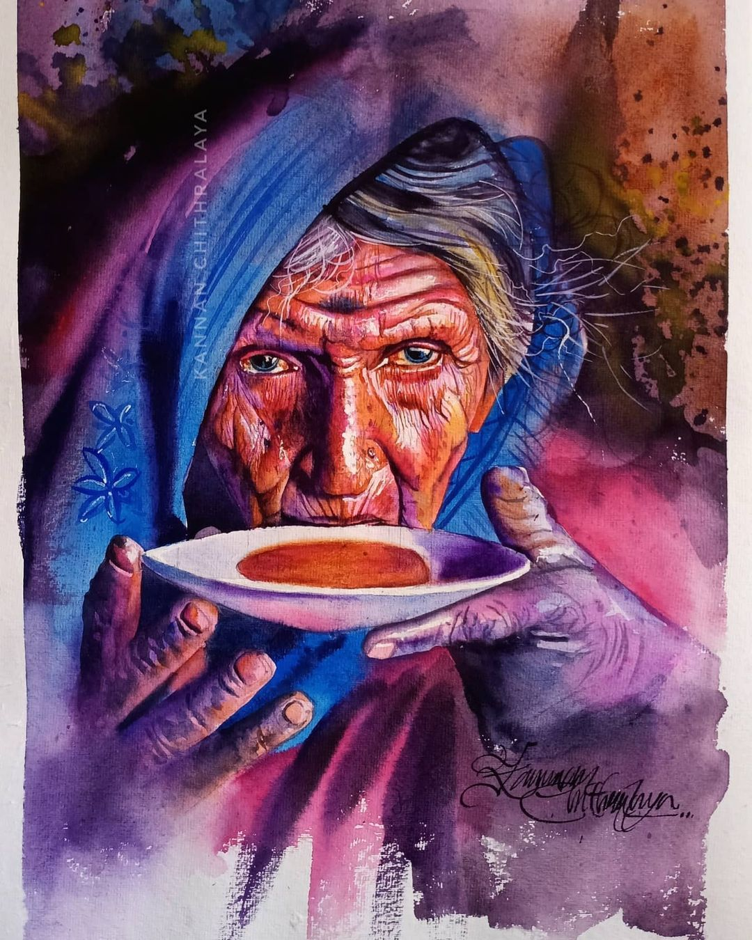 watercolor painting old woman sipping tea by kannan chitralaya