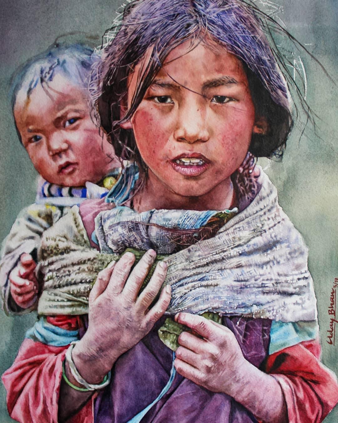 portrait watercolor painting rural children