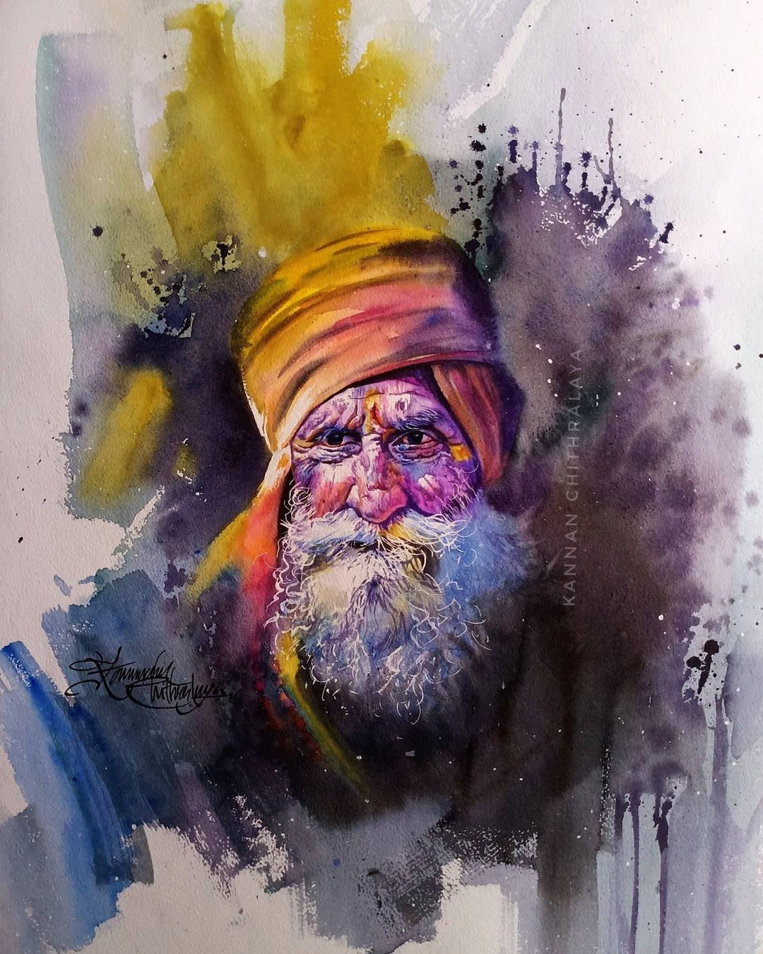 watercolor painting old man